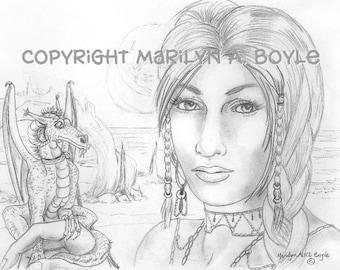 PRINT-FANTASY -MAID with pet dragon, pencil drawing. original art, wall art, Scandinavian maid,