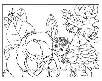 ADULT COLORING PAGE - digital download - Fantasy; baby fairy, roses, flowers, garden, fairy wings, original art, adult coloring page