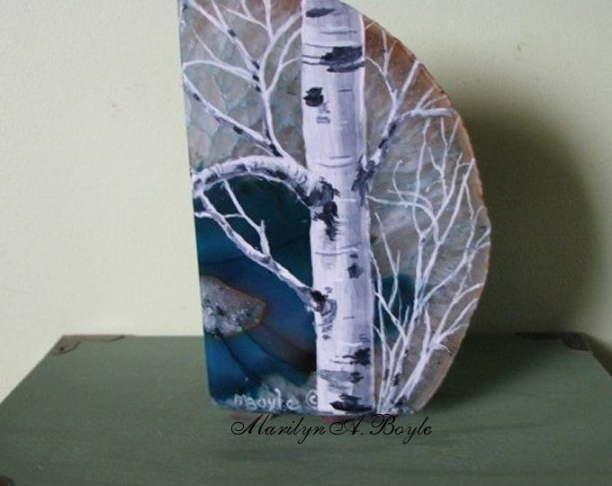 HAND PAINTED AGATE Chunk; birch tree, two sides polished, original art, shelf art, desk art, one of a kind, unique,