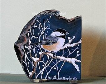 "HAND PAINTED ""BOOKEND"" Stone; agate chunk, deep blue color, chickadee, winter, one of a kind, original art, shelf art"