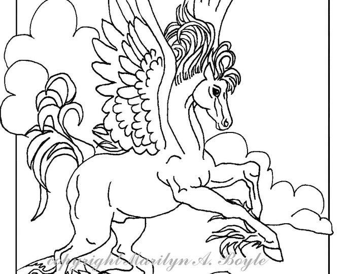 DIGITAL DOWNLOAD - Adult Coloring Page: Pegasus, fantasy, art, original drawing, ink, for children too,