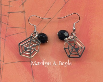 EARRINGS-SPIDERWEBS - HALLOWEEN; these small drop earrings are little spiderwebs with a black bead each,