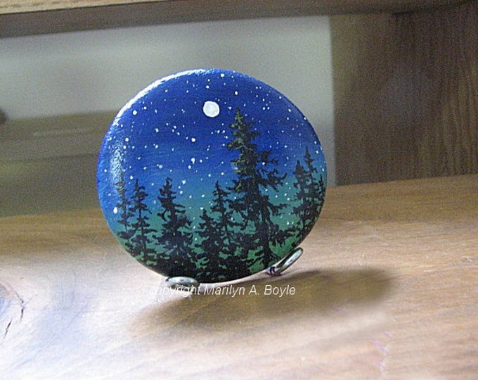 HAND PAINTED STONE - Lake Superior stone, smooth round, metal stand, starry skies, forest, one of a kind, shelf and desk art,