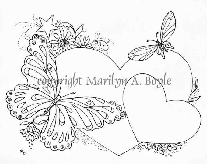 ADULT COLORING PAGE; hearts, flowers, butterflies, digital download, great to add names for wedding, showers, little girls room,