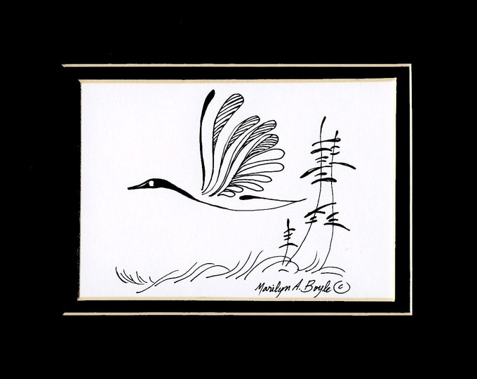 ORIGINAL INK DRAWING; 20% off, Canada goose, Canadian art, nature, art, wall art, 8 x 10 inch double mat, wall art, wings, feathers,