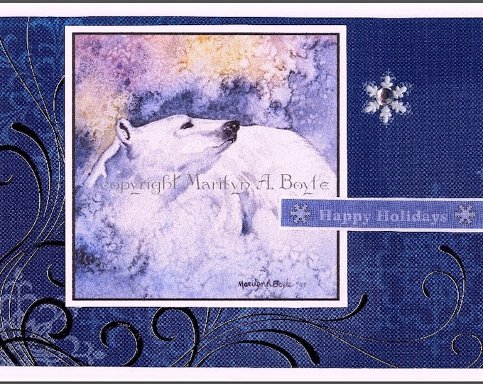 ACEO CHRISTMAS POLAR Bear; 2.5 x 3.5 inches, collector cards, Christmas greetings, happy holidays, collage, miniature art,