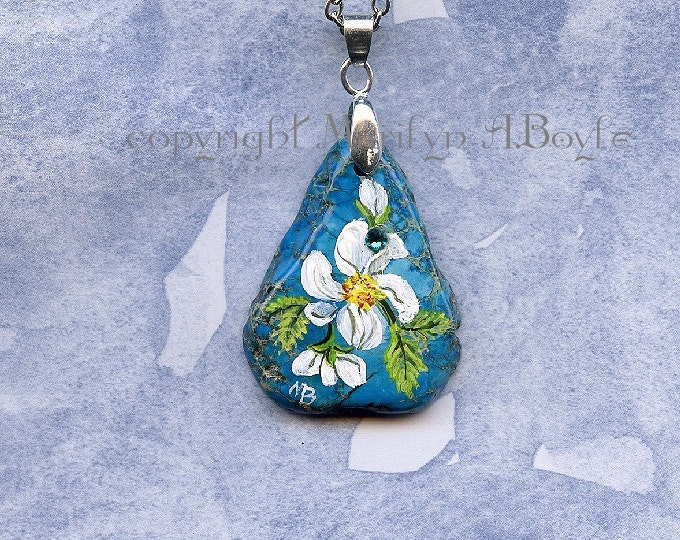 ORIGINAL HAND PAINTED Stone: flowers, jewelry, pendant, original are, wearable art, blue stone, 24 inch chain, spring blossoms,