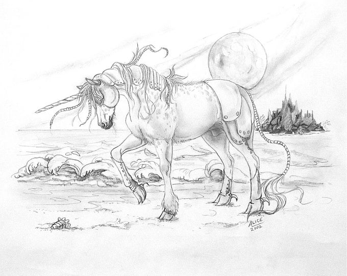 DRAWING- ORIGINAL - FANTASY; unicorn, alien, desolate shores, graphite,