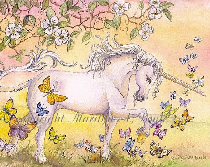 PRINT- FANTASY- UNICORN, butterflies, apple blossoms, golden color, spring, nature, wall art, ladies,  fantasy print, girl's room