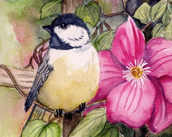 CARDS - SET of FOUR; blank, song birds, garden, nature, chickadees, hummingbird, sparrow, wigs, feathers, occasion cards, art, 5 x 7 inches