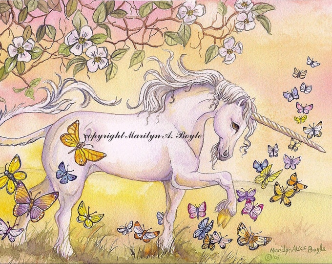 GICLEE FANTASY PRINT; Unicorn, 10 x 14 inches, butterflies, blossoms, spring, golden color, prancing, wall art, girl's room