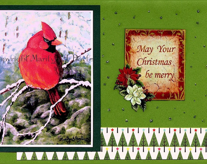 CHRISTMAS ACEO CARD; 2.50 x 3.50 inches, miniature art, collage, male Cardinal, Christmas greeting, for collectors, from original art