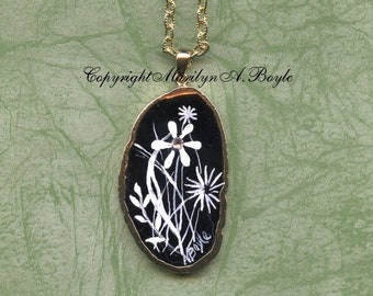 AGATE- HAND PAINTED; Rimmed in gold, black agate, stylized flowers, black and white, wearable art jewelry,pendant,necklace,Swarovski crystal