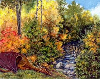 FANTASY DRAGON PRINT - Double Matted, 11 x 14 inch, Limited Edition, autumn, stream, copper dragon,