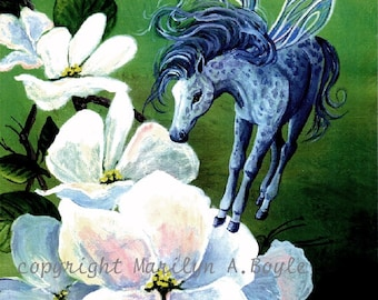Giclee PRINT - Lt. Ed. FAIRY HORSE - apple blossoms, wings, fantasy, garden, flowers, dapple grey fairy horse, wall art, fantasy print, girl