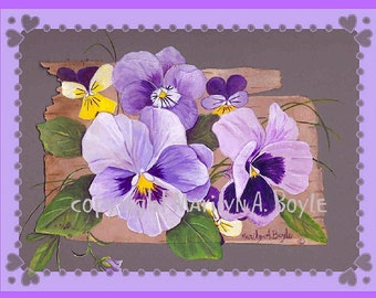 PANSY BLANK CARDS - Set of four different cards; pansies, yellow, purple, mauve, garden, flowers, nature