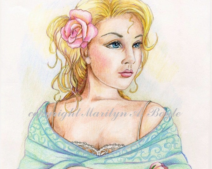 ORIGINAL LADY with shawl COLORED Pencil Drawing; free shipping,art,rose, wall art,character portrait, 8.5 x 11 inches, pastel colors,