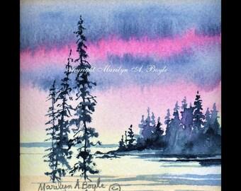 MINIATURE ORIGINAL WATERCOLOR; 4 X 4 inches framed in black wood, wall art, lake scene, sunrise, lake, Canadian art, miniature collection.