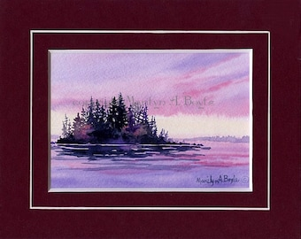 ORIGINAL WATERCOLOR PAINTING; double matted in wine color, wall art, island, sunrise, lake, skies, ,trees