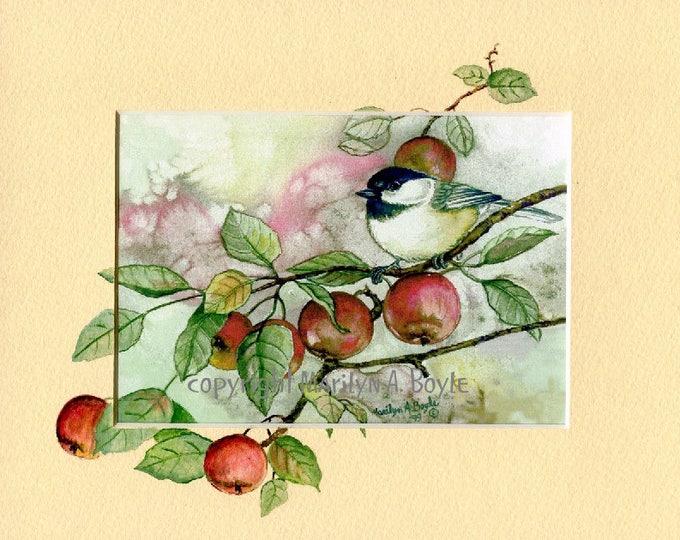 OIRIGINAL HAND PAINTED Mat; print, enhanced mat, chickadee and apples, fall bounty, 8 x 10 inches, wall art, miniature art, original print