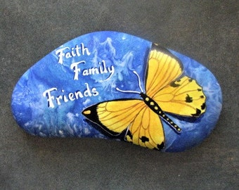 HAND PAINTED STONE; large, from the shores of Lake Superior, one of a kind, words and butterfly, paint pour, shelf art, stand