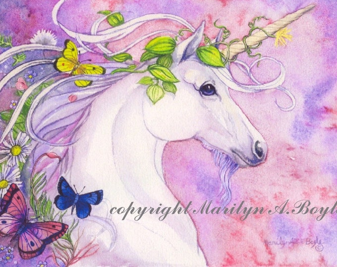 PRINT - FANTASY- UNICORN; art, spring, flowers, butterflies, nature, pink and mauve/blue color, approximately 8 x 10 inches