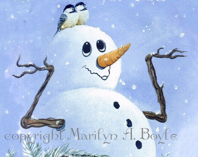 SNOWMEN CARDS SET of Four; invitation size with envelopes, blank inside, from original art,