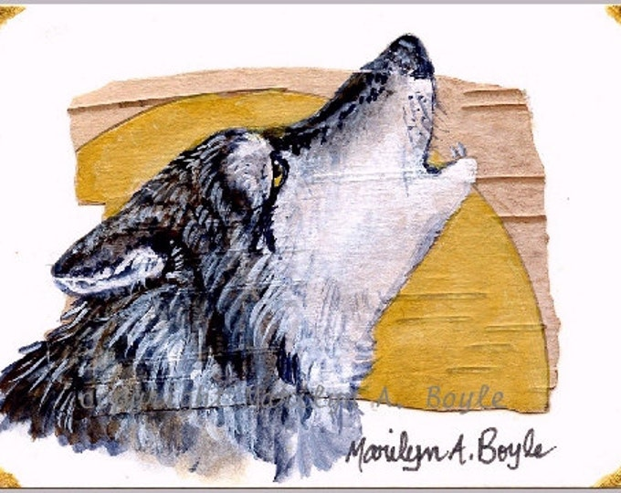 """ACEO Card - """" Song of the Wolf"""" - Grey Timber Wolf baying at the moon; original painting, on birch bark and bristol board."""
