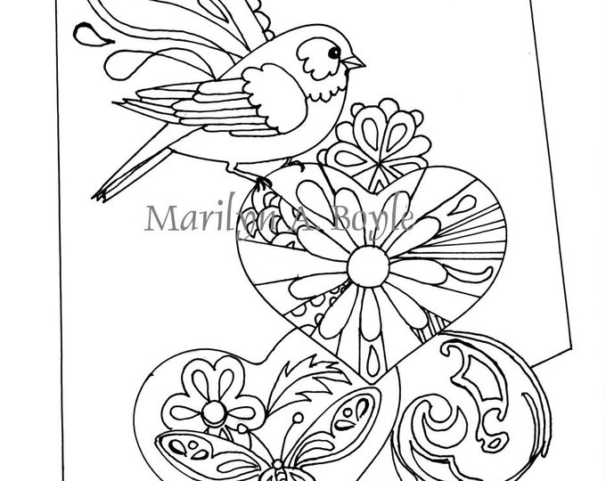 COLORING PAGE BIRD and hearts; digital download, from an original drawing,