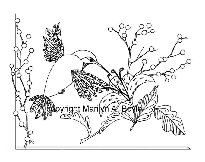 COLORING PAGE HUMMINGBIRD, digital download, nature, garden, flowers, bird, zentangle,  adult coloring page