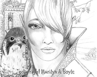 PENCIL PRINT - ELF; peregrine falcon, lady Elf, graphite drawing,  gate house, from an original drawing,  8 1/2 x 11 inches, wall art