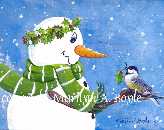 SET of FOUR SNOWMEN Cards; blank inside, invitation size 4.x 5.25 inches with envelopes, from original art,