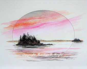 ORIGINAL WATERCOLOR MATTED;  enhanced mat, wall art, watercolor sunrise, 11 x 14 inch oval mat, Canadian art, lake, islands,