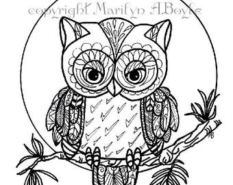 COLORING PAGE - OWL; digital download, nature, moon, Zentangle, original art, pen and ink,