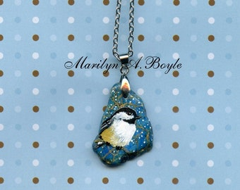 HAND PAINTED STONE; Chickadee, irregular blue stone, wearable art, one of a kind, jewelry, pendant, 16 inch silver metal chain