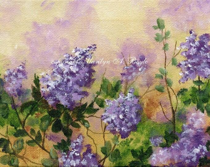 ACRYLIC PAINTING - ORIGINAL art; 5 x 7 inch wrap around canvas, Canadian art, wall art, lilacs, miniature painting,