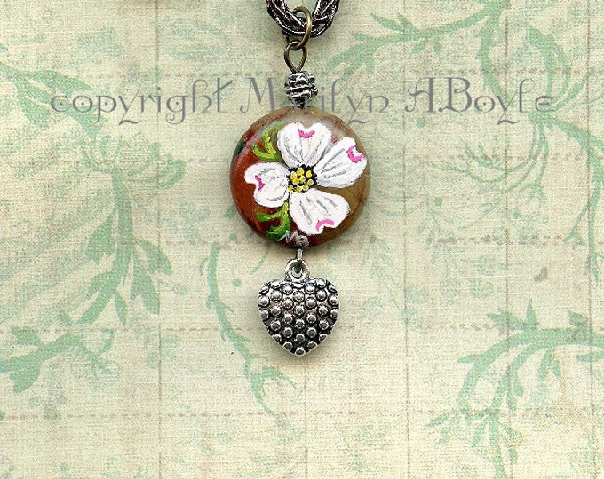 STONE- HAND PAINTED; dogwood flower, jewelry, pendant, choker, 14 inch silver braided cord, heart charm, original art, wearable art,