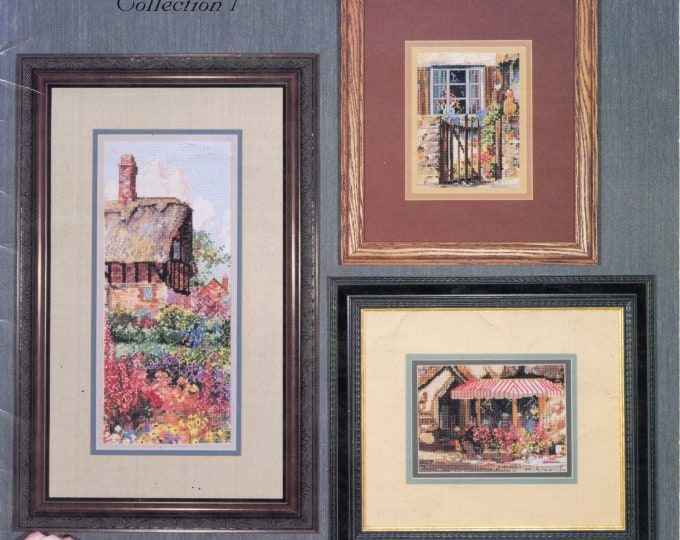 CROSS STITCH LEAFLET; 20% off,  Marty Bell Vignettes, Vintage 1998, thatch, Inn, garden,sanctuary, tea room, Christmas, colored charts