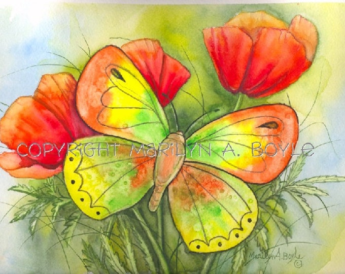BUTTERFLY PRINTS - GIRL'S Room; wall art, nature, flowers, garden,child's room,wall art,approximately 8 x 10 inch image, for seniors