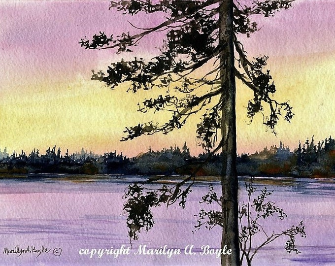 ORIGINAL WATERCOLOR SCENE; art,lake scene,lone tree, Jackpine, purple sunrise, wall art, Canadian art,