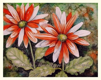 ORIGINAL WATERCOLOR PAINTING; flowers, orange and white, daisies, gaillardia, garden, wall art, 10 x 13 inches, Canadian art