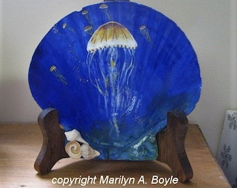 HAND PAINTED SEASHELL;  for shelf or desk, one of a kind, original art, jellyfish, smaller seashells, enhanced on the back