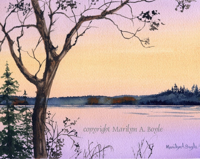 ORIGINAL WATERCOLOR PAINTING; 6.50 X 10 inches image size, wall art, white border around, sunrise, 140 lb watercolor paper