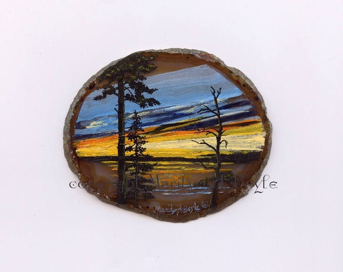 ROCK ART SUNSET; trees in silhouette, lake scene, one of a kind, original art, shelf art, nature, wood stand