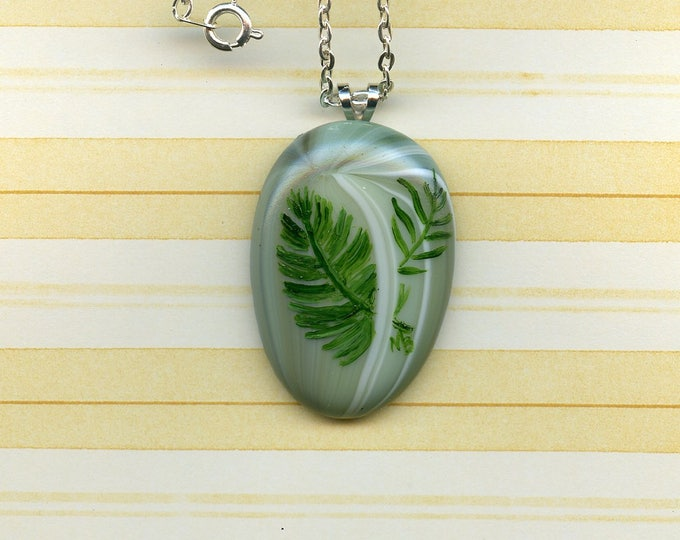 Hand Painted FUSED GLASS PENDANT;  tropical leaves, green fused glass, 18 inch silver metal chain, original art, one of a kind, jewelry