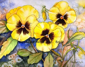 SET  of FOUR PANSY Cards; yellow pansies, purple pansies, flowers, garden, reproduction, print, blank cards