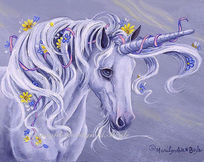PRINT - UNICORN - FANTASY, Hand enhanced, flowers, blue-grey color, ribbon, art, reproduction, approximately 8 x 10 inches,