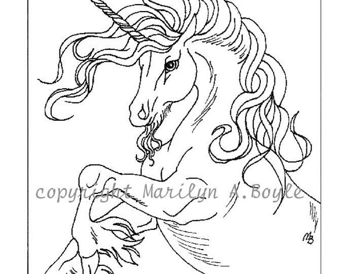 ADULT COLORING PAGE; digital download, fantasy, unicorn, dancing, for anyone too, original art, pen and ink