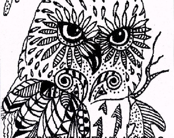 ACEO ORIGINAL ZENTANGLE; saw whet owl, pen and ink, card stock, wings, feathers, doodled feathers, wildlife, coloring card