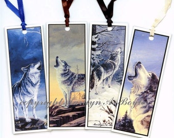 FOUR WOLF BOOKMARKS, from original art, nature, wildlife, laminated, ribbon, 5 inches,
